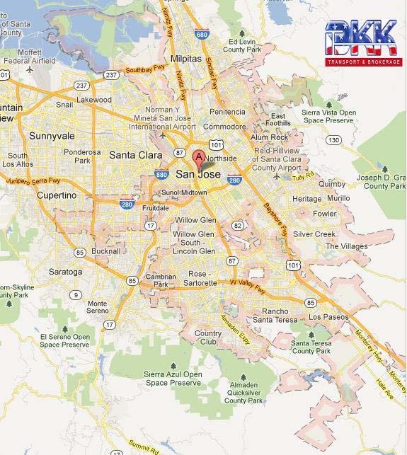 San Jose Highway Map