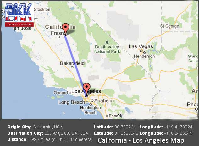 California to Los Angeles Travel Map